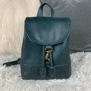 Free people mini faux leather green backpack